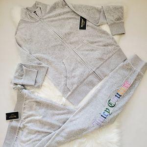 Juicy Couture Velour Grey Logo Tracksuit Sweatsuit